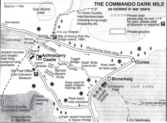 Map of the Commando Dark Mile at Achnacarry