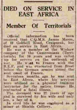 Motherwell Times 2July1943 re CQMS Mason