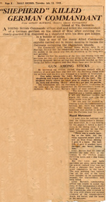 Newspaper article re Lt Barton MC