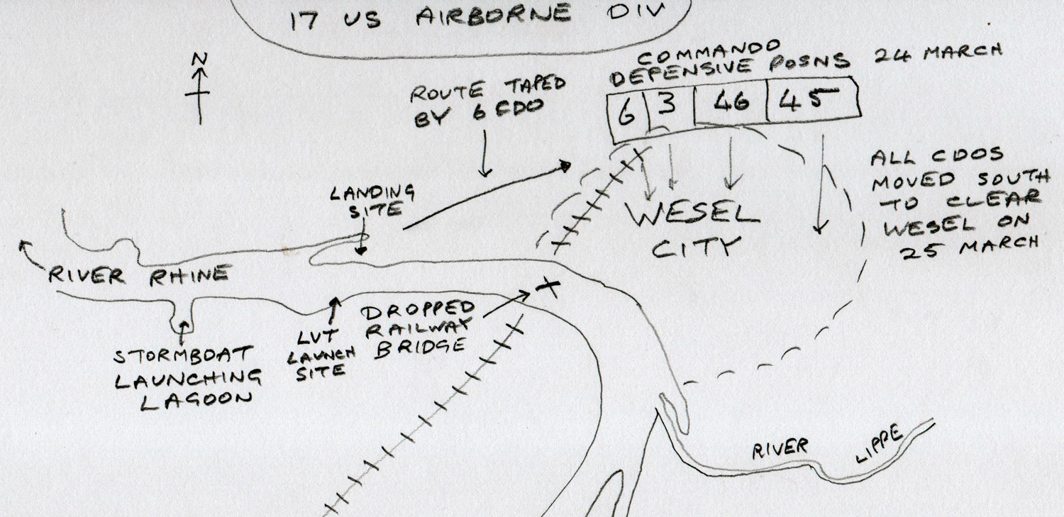 Sketch map of 1st Cdo Bde positions at Wesel