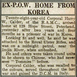 Harry Calder report in Dundee Courier 16th October 1953
