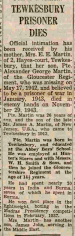 Newspaper cutting re death of Private Martin